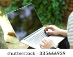 young man with laptop outdoors | Shutterstock . vector #335666939