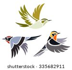 Stock vector stylized birds warblers 335682911