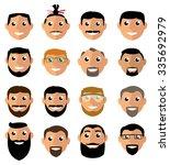 face set. hair  beard and... | Shutterstock .eps vector #335692979