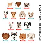 Stock vector dog breeds collection with ribbon and name vector flat illustrations popular dogs breeds card 335705975