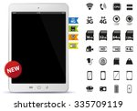 tablet pc and icons set vector... | Shutterstock .eps vector #335709119