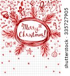hand drawn red seasonal winter... | Shutterstock .eps vector #335727905
