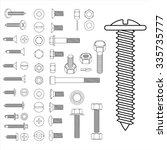screw nut set drawing | Shutterstock .eps vector #335735777