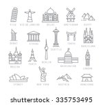 city icons in flat style with... | Shutterstock .eps vector #335753495