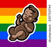 newborn little gay baby smiling ... | Shutterstock .eps vector #335753744