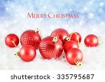 christmas background with red...   Shutterstock . vector #335795687