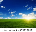 green field blue sky and sun.  | Shutterstock . vector #335797817