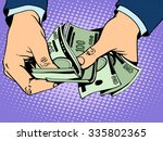 payback cash in hand pop art... | Shutterstock .eps vector #335802365