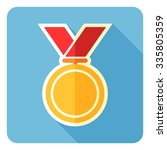 gold medal isolated on a blue... | Shutterstock .eps vector #335805359
