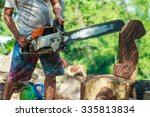sawing wood  wood carving... | Shutterstock . vector #335813834