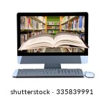 a book coming out of a computer ... | Shutterstock . vector #335839991