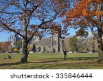Stock photo university campus in fall 335846444