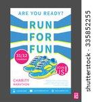 vector charity marathon flyer... | Shutterstock .eps vector #335852255