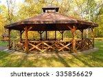 Wooden Gazebo In Autumn Parks ...