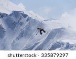 flying snowboarder on mountains ... | Shutterstock . vector #335879297