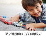a little kid is laying and... | Shutterstock . vector #33588532