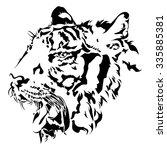 tiger head silhouette  black... | Shutterstock .eps vector #335885381