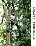 man cutting tree down with... | Shutterstock . vector #3359003