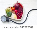 healthy food in heart and... | Shutterstock . vector #335919509