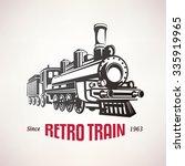 Retro Train  Vintage  Vector...