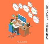 programming flat isometric... | Shutterstock .eps vector #335928404