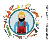 hipster craftsman and tools in... | Shutterstock .eps vector #335952551