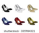 colorful woman's shoes set