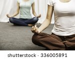 two women sitting on the floor... | Shutterstock . vector #336005891