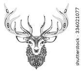 Vector Ornate Deer Horned Head...