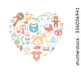 card with colorful baby icons | Shutterstock .eps vector #336036941