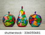 wooden apples and pear painted... | Shutterstock . vector #336050681