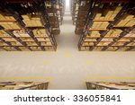 warehouse interior with racks... | Shutterstock . vector #336055841