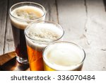 assorted beers in a flight... | Shutterstock . vector #336070484