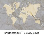 crumpled world map paper golden | Shutterstock . vector #336073535