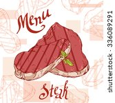 fast food poster with steak.... | Shutterstock .eps vector #336089291