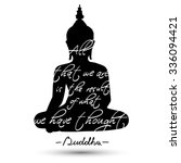 sitting buddha silhouette with... | Shutterstock .eps vector #336094421