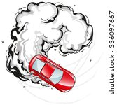 red car in a skid on the spread ... | Shutterstock .eps vector #336097667
