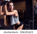 brunette sexy fitness girl in... | Shutterstock . vector #336101621