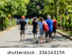 Stock photo people walking tour on street picture is blurred 336163154