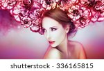 beautiful woman in a colorful... | Shutterstock . vector #336165815
