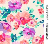 romantic floral   seamless... | Shutterstock .eps vector #336166541