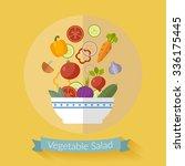 vector fresh vegetables... | Shutterstock .eps vector #336175445