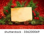 christmas tree banches with... | Shutterstock . vector #336200069