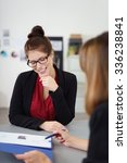 two businesswoman in a meeting... | Shutterstock . vector #336238841