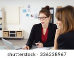 two serious businesswomen in a... | Shutterstock . vector #336238967