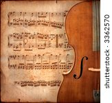 cello on ancient music sheet ... | Shutterstock . vector #3362570