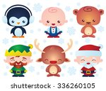 set of cute christmas baby... | Shutterstock .eps vector #336260105