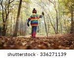 boy walking with a hiking pole... | Shutterstock . vector #336271139