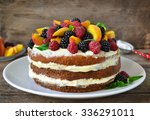 naked cake with cream ... | Shutterstock . vector #336291011