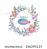watercolor floral frame  | Shutterstock . vector #336295127